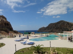 Typický výhľad z plážového hotela na Karpathose